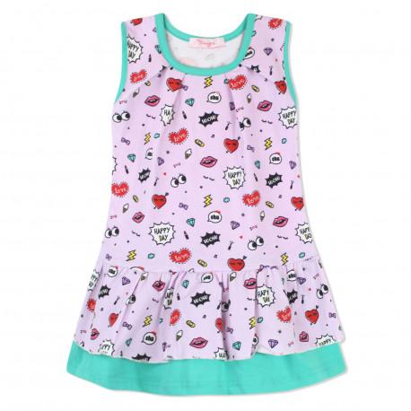 Платье для девочки, розовое. Веселые комиксы.