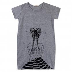 Платье для девочки, туника, темно-серое. Стильная девушка.