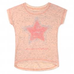 Футболка для девочки, персиковая. Неоновая звезда.
