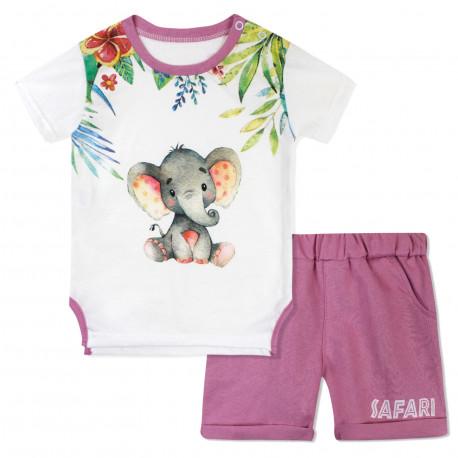 Костюм 2 в 1 для девочки, розовый. Малыш слоненок.