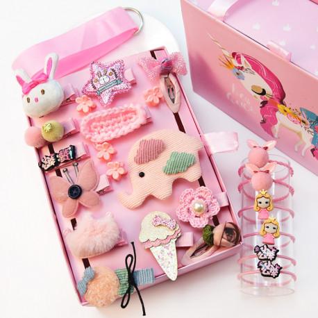 Набор детских заколок. Розовый Слон 24 штук в подарочной коробочке.