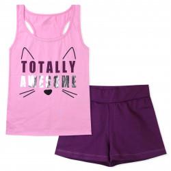 Пижама для девочки, розовая. Просто восхитительный котик.