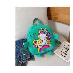 Детский рюкзак, зеленый. Милый единорожек.
