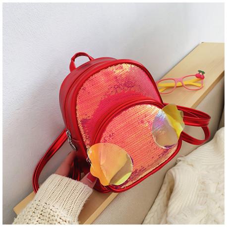 Детский рюкзак, с паетками, красный. Ангельские крылья.