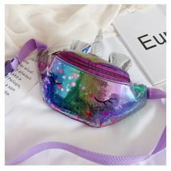 Сумка детская, поясная сумка, фиолетовая. Волшебный единорог.