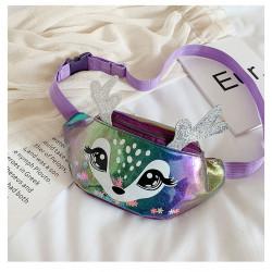 Сумка детская, поясная сумка, фиолетовая. Волшебный бемби.