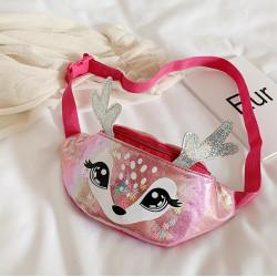 Сумка детская, поясная сумка, розовая. Волшебный бемби.