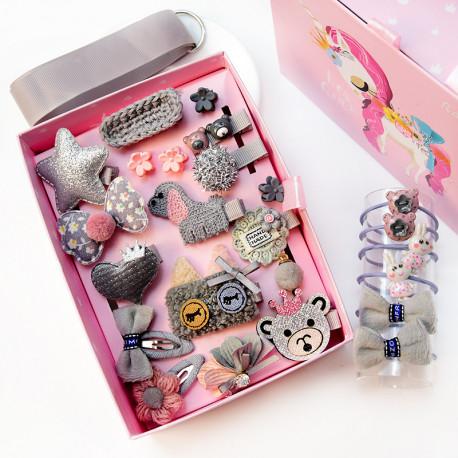 Набор детских заколок. Серая Обезьянка 24 штук в подарочной коробочке.
