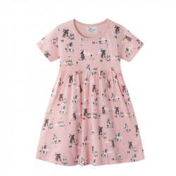 Платье для девочки, розовое. Семья кроликов.