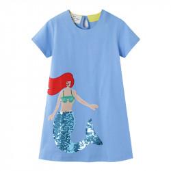 Платье для девочки, голубое. Красивая русалка.