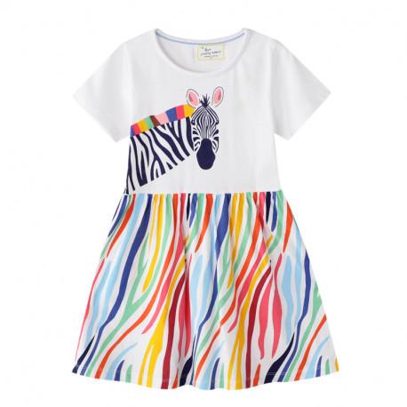 Платье для девочки, белое. Радужная зебра.