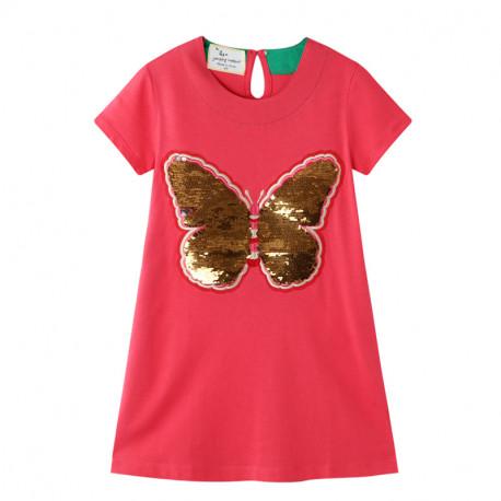 Платье для девочки, розовое. Блестящая бабочка.