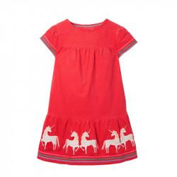 Платье для девочки, красное. Белые единороги.