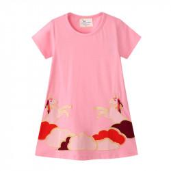 Платье для девочки, розовое. Небесные единороги.