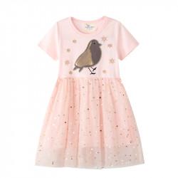 Платье для девочки, персиковое. Мерцающая птичка.