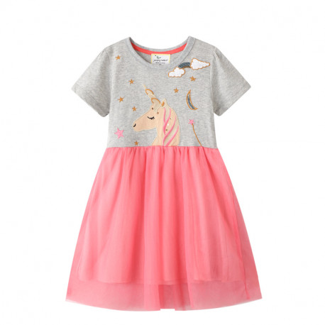 Платье для девочки, серое. Мечтательный единорог.