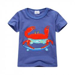 Футболка для мальчика, синяя. Морской краб.