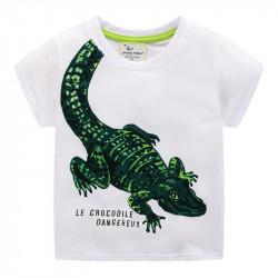 Футболка для мальчика, белая. Опасный крокодил.