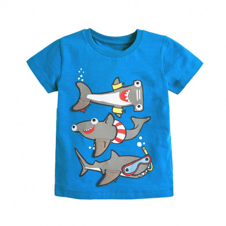 Футболка для мальчика, синяя. Морские акулы.