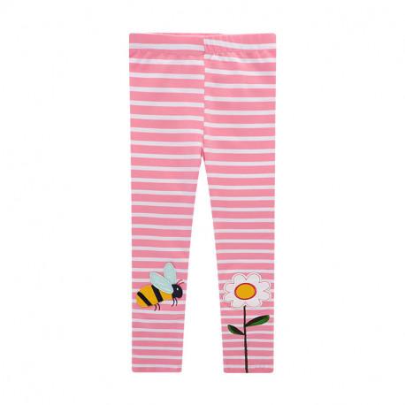 Леггинсы для девочки, розовые. Шмель и цветок.