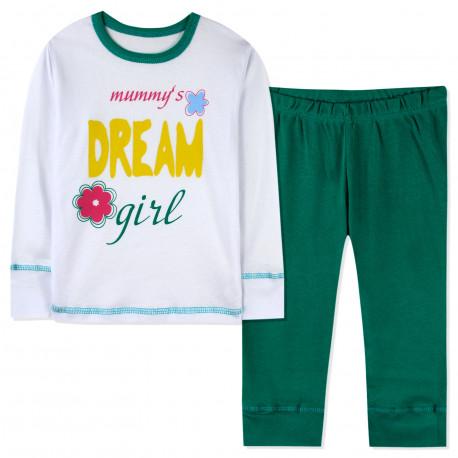 Пижама для девочки, зеленая. Дочка маминой мечты.