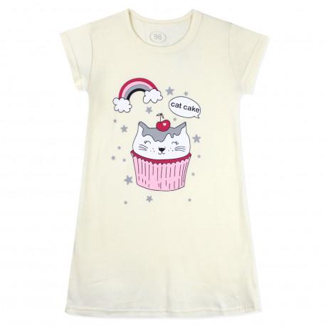 Ночная рубашка для девочки, молочная. Котик пирожное.