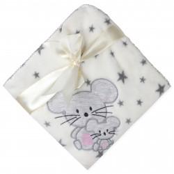 Плед детский молочный, махра. Мышка. 90*110 см.