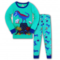 Пижама для мальчика, зеленая. Дино и вулкан.