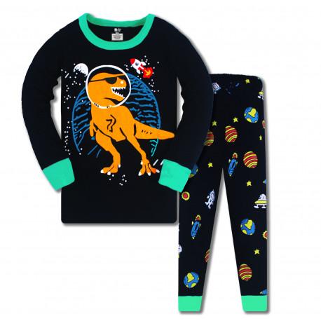 Пижама для мальчика, черная. Космический дино.