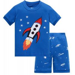 Пижама для мальчика, синяя. Ракета.
