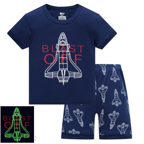 Пижама для мальчика, синяя. Истребитель.