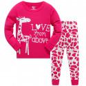 Пижама для девочки, малиновая. Милый жирафик.