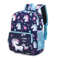 Детский рюкзак, синий. Единорог и сладости.