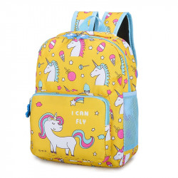 Детский рюкзак, желтый. Единорог и сладости.