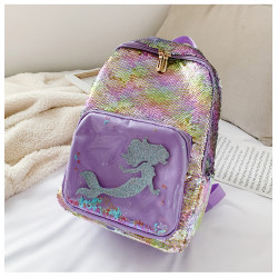 Рюкзак детский, с паетками перевертышами, фиолетовый. Русалочка.