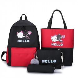 Набор школьный! Рюкзак, сумка, пенал, сумочка. Черный. Котики.