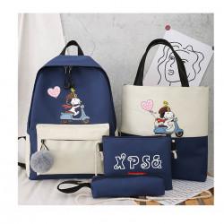 Набор школьный! Рюкзак, сумка, пенал, сумочка. Синий. Снупи.