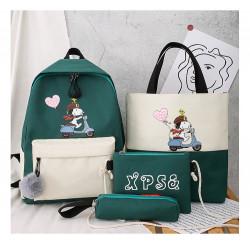Набор школьный! Рюкзак, сумка, пенал, сумочка. Зеленый. Снупи.