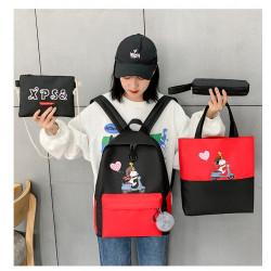 Набор школьный! Рюкзак, сумка, пенал, сумочка. Черный. Снупи.