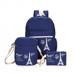 Набор школьный! Рюкзак, косметичка, сумочка. Синий. Париж.