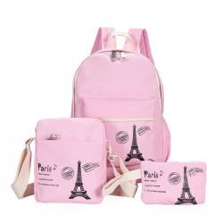 Набор школьный! Рюкзак, косметичка, сумочка. Розовый. Париж.