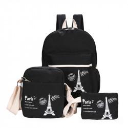 Набор школьный! Рюкзак, косметичка, сумочка. Черный. Париж.
