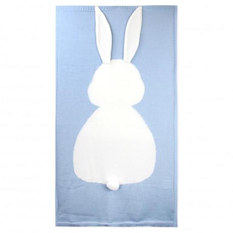 Вязаный плед, детский, голубой. Зайка. 70*120 см.