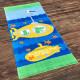 Полотенце махровое, голубое. Подводная лодка.