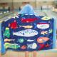Полотенце махровое с капюшоном, для мальчика. Рыбы 76*127 см.