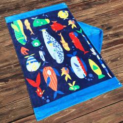 Полотенце махровое с капюшоном, для мальчика. Рыбы. 76*127 см.
