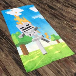 Полотенце махровое, банное. Майнкрафт. 70 см *150 см.