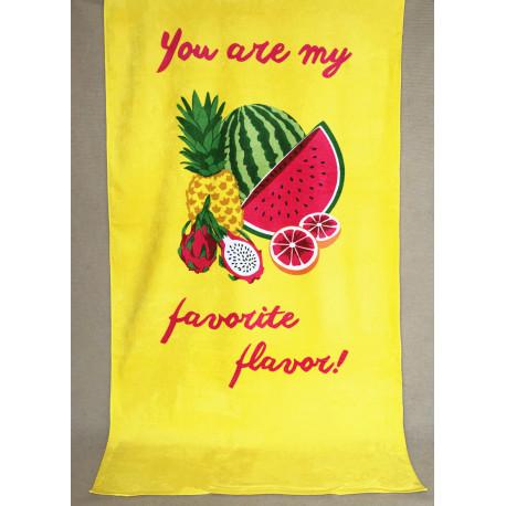 Полотенце махровое, банное. Тропические фрукты.