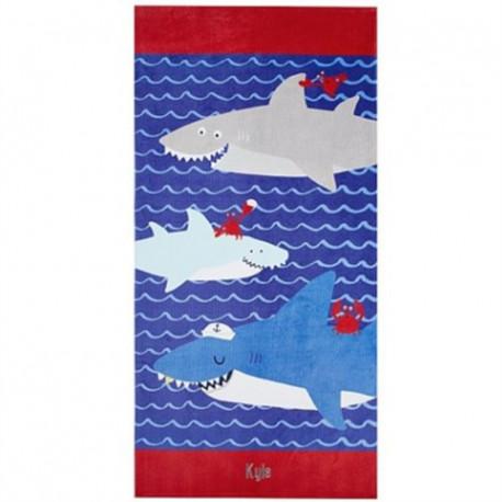 Полотенце махровое, банное. Акулы и крабы.