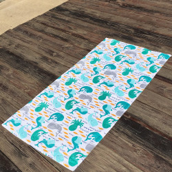 Полотенце махровое, банное. Морские обитатели. 65 см * 130 см.